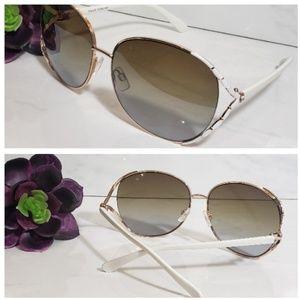 Accessories - Gold Rim Oversized Sunglasses